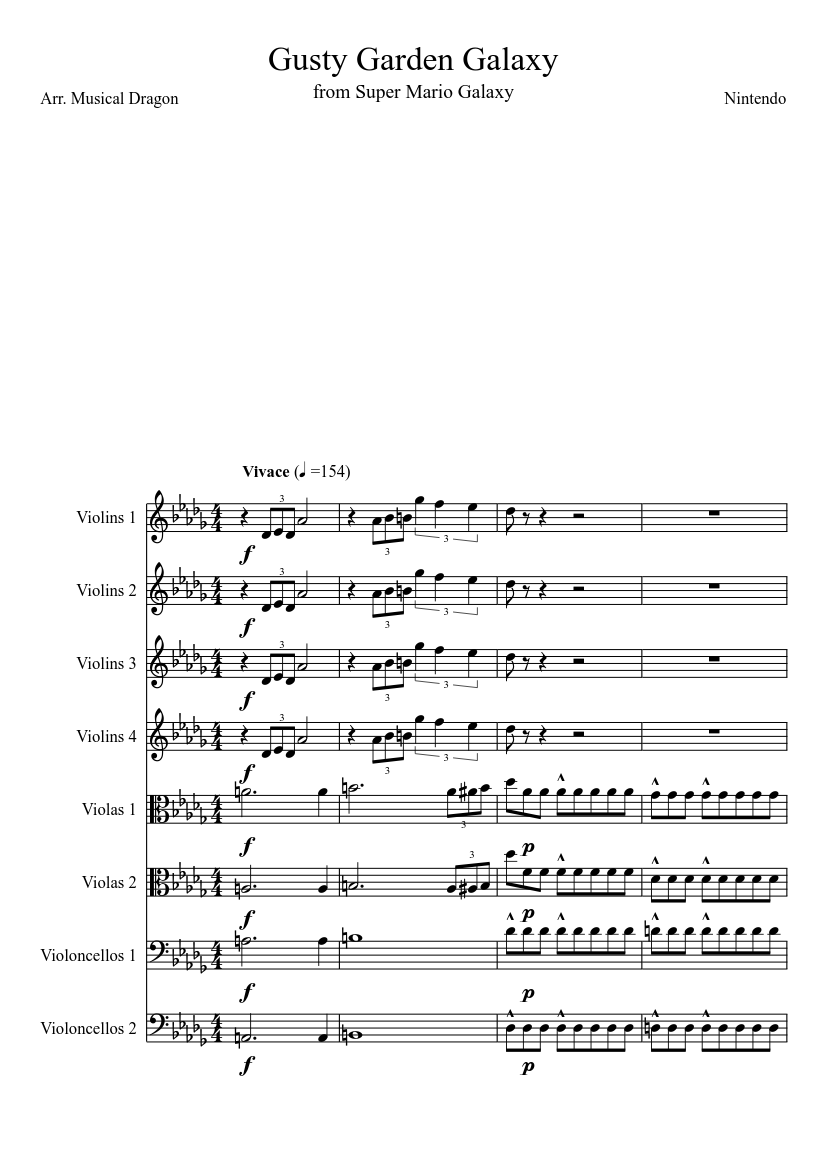 Gusty garden galaxy sheet music for flute, clarinet, oboe, french.