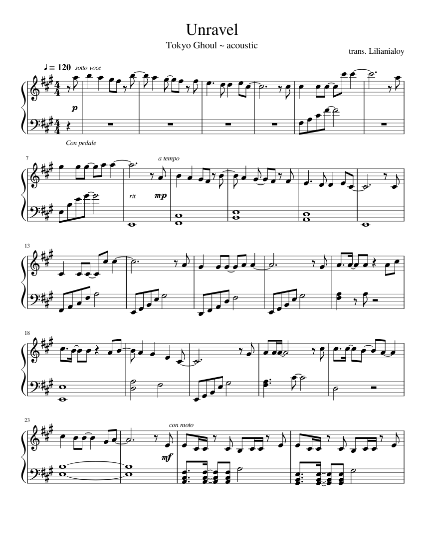 Unravel   acoustic ver. [easy piano] Sheet music for Piano Solo ...