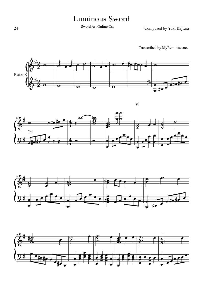 luminous sword sheet music for piano (solo) | musescore.com  musescore.com