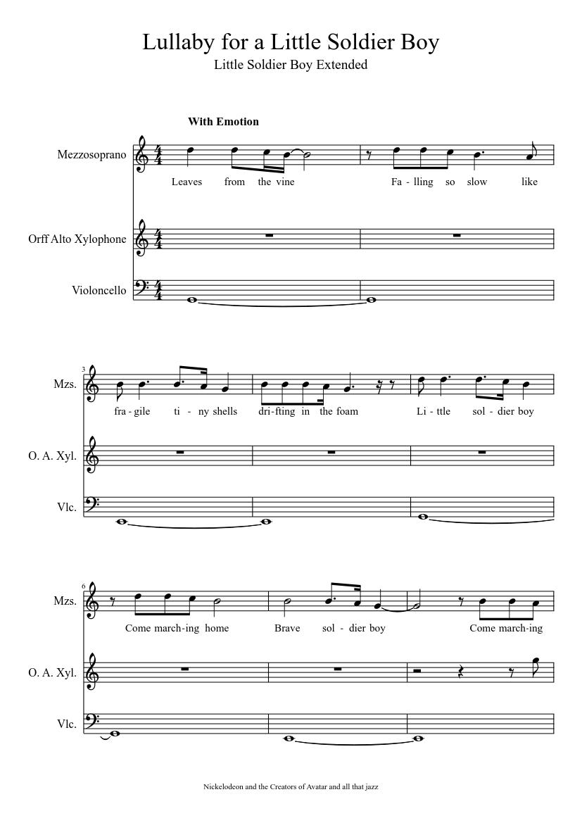 Lullaby For A Little Soldier Boy Sheet Music Musescore Com
