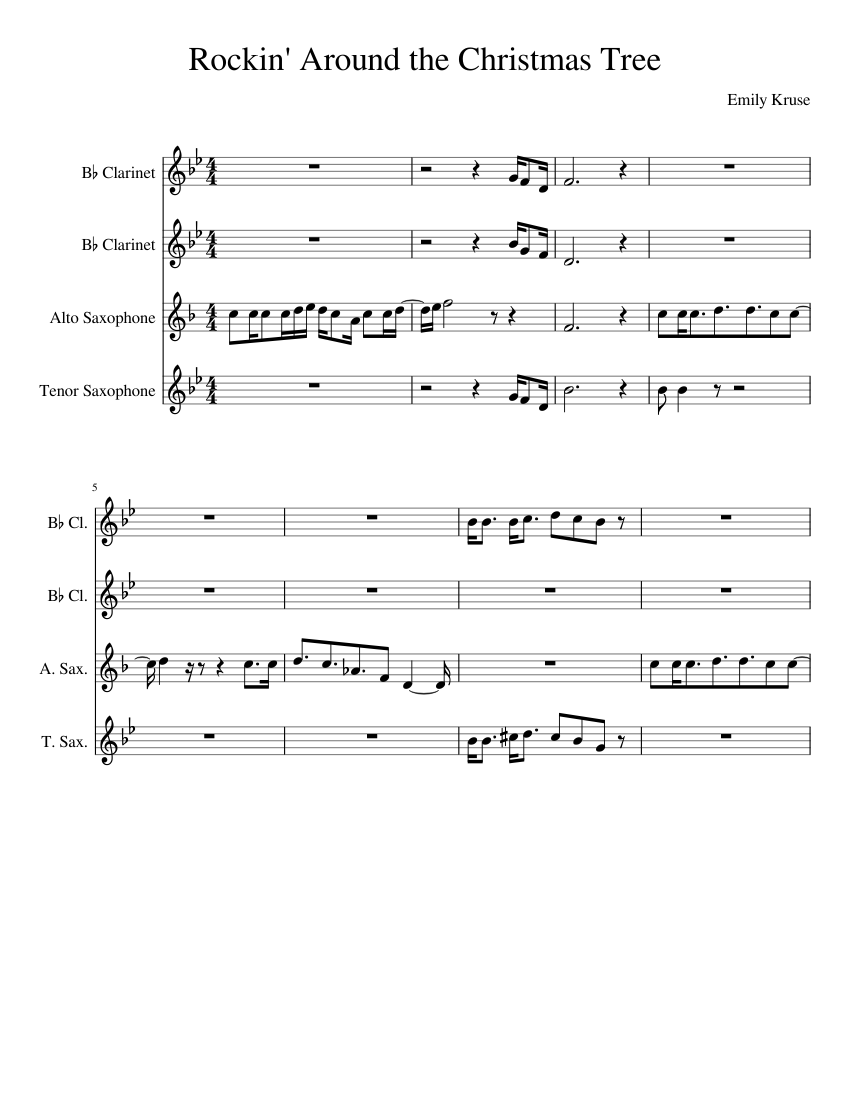 Rockin' Around the Christmas tree sheet music for Clarinet, Alto Saxophone, Tenor Saxophone ...