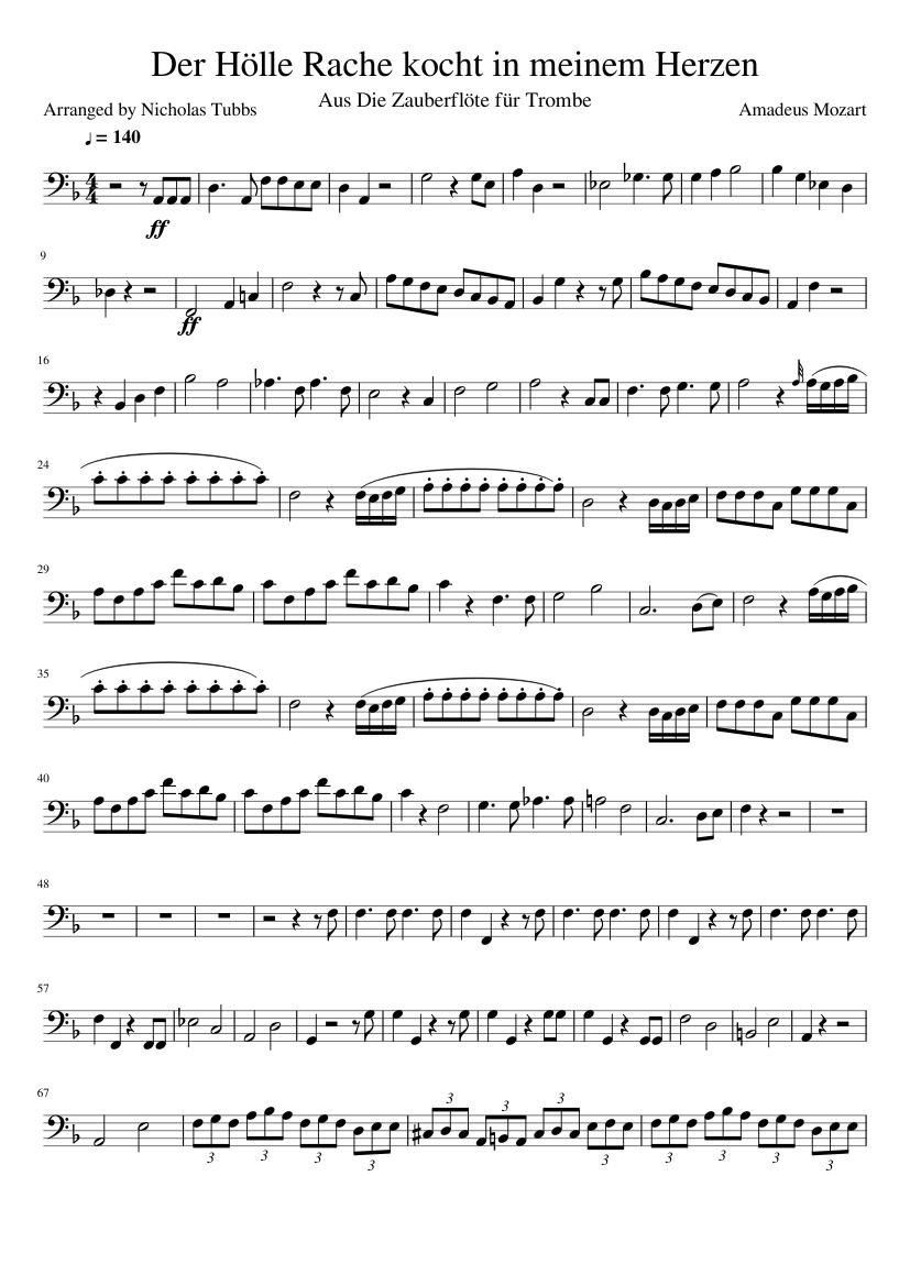 Der Hölle Rache Kocht In Meinem Herzen For Trombone Finished Sheet Music For Trombone Solo Musescore Com