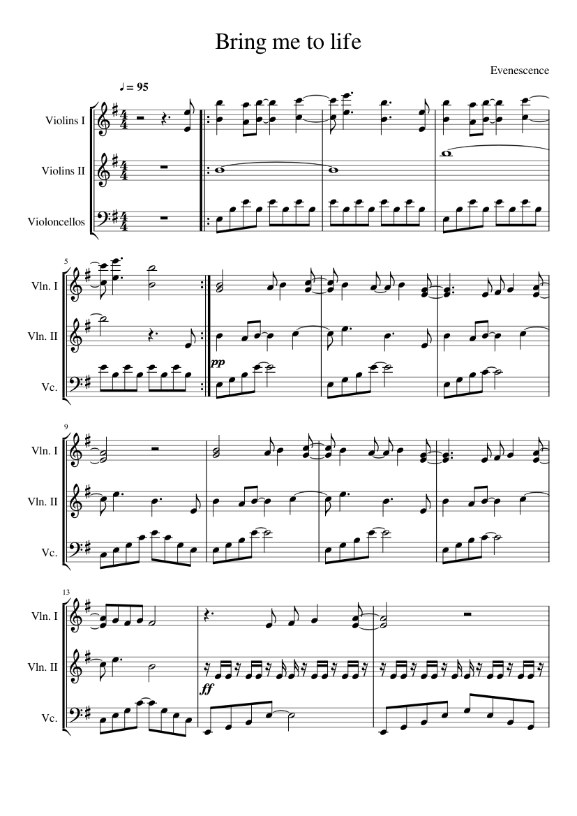 Bring me to life by evanescence sheet music for violin, cello.