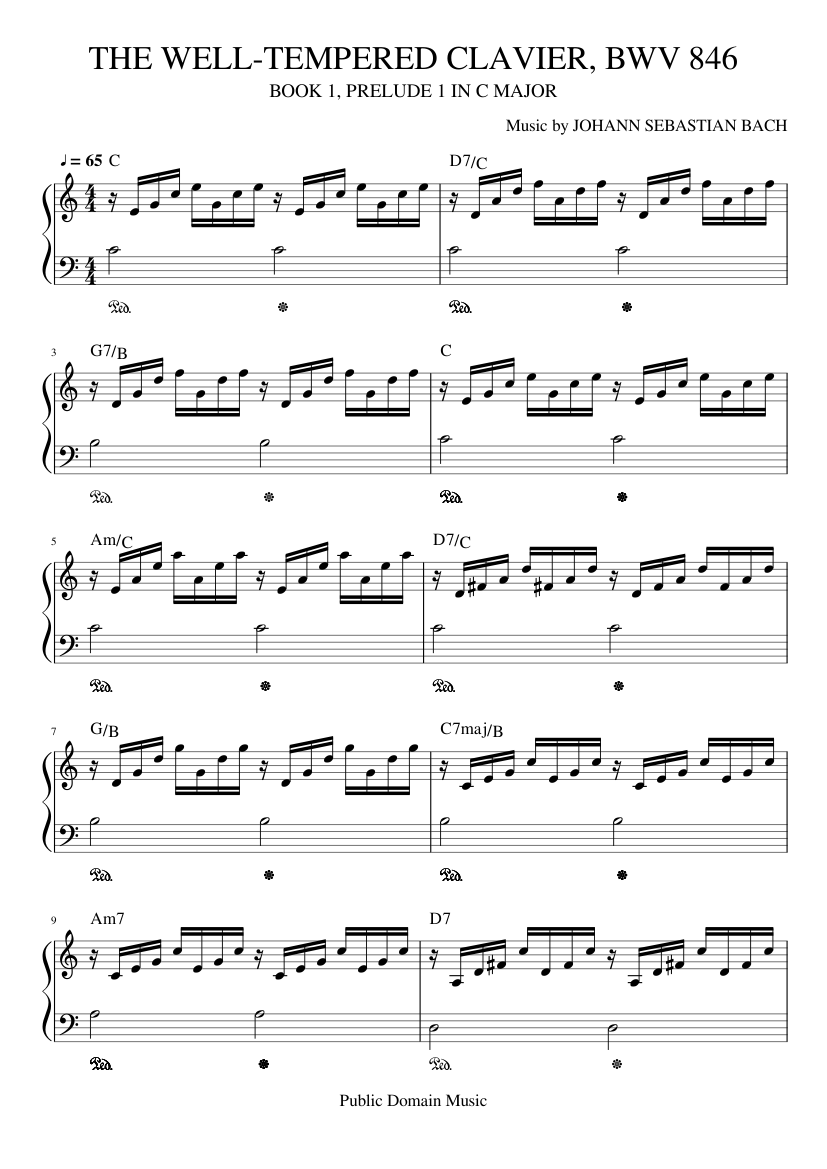Prelude and Fugue in C major, BWV 547 by Johann Sebastian Bach sheet music arranged by guillermobruno@rocketmail.com for Solo – 1 of 3 pages