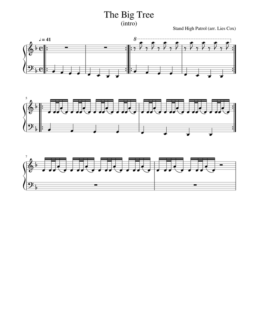Stand High Patrol The Big Tree Intro Sheet Music For Piano Solo Musescore Com
