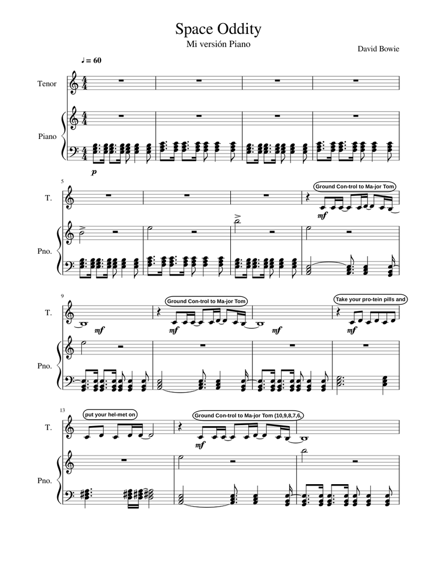 Space Oddity David Bowie Mi Version Piano Sheet Music For Piano Tenor Piano Voice Musescore Com Learn to play with piano, guitar and ukulele in minutes. space oddity david bowie mi version