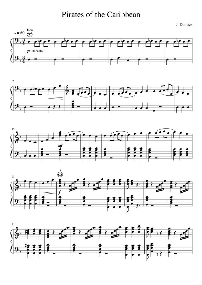 He's a pirate (piano duet) sheet music for piano download free in.