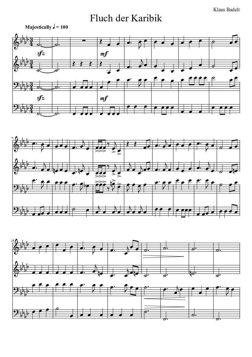 fluch der karibik noten klavier