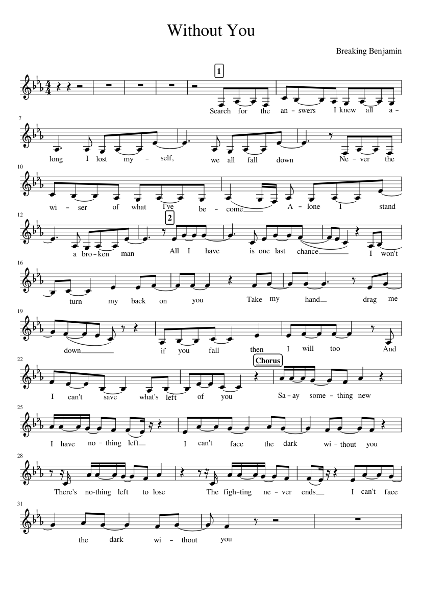 Breaking benjamin without you sheet music for voice download.