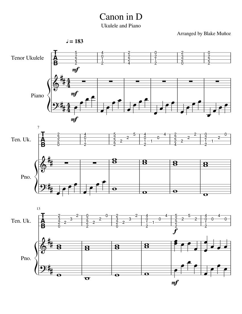 canon in d piano guitar