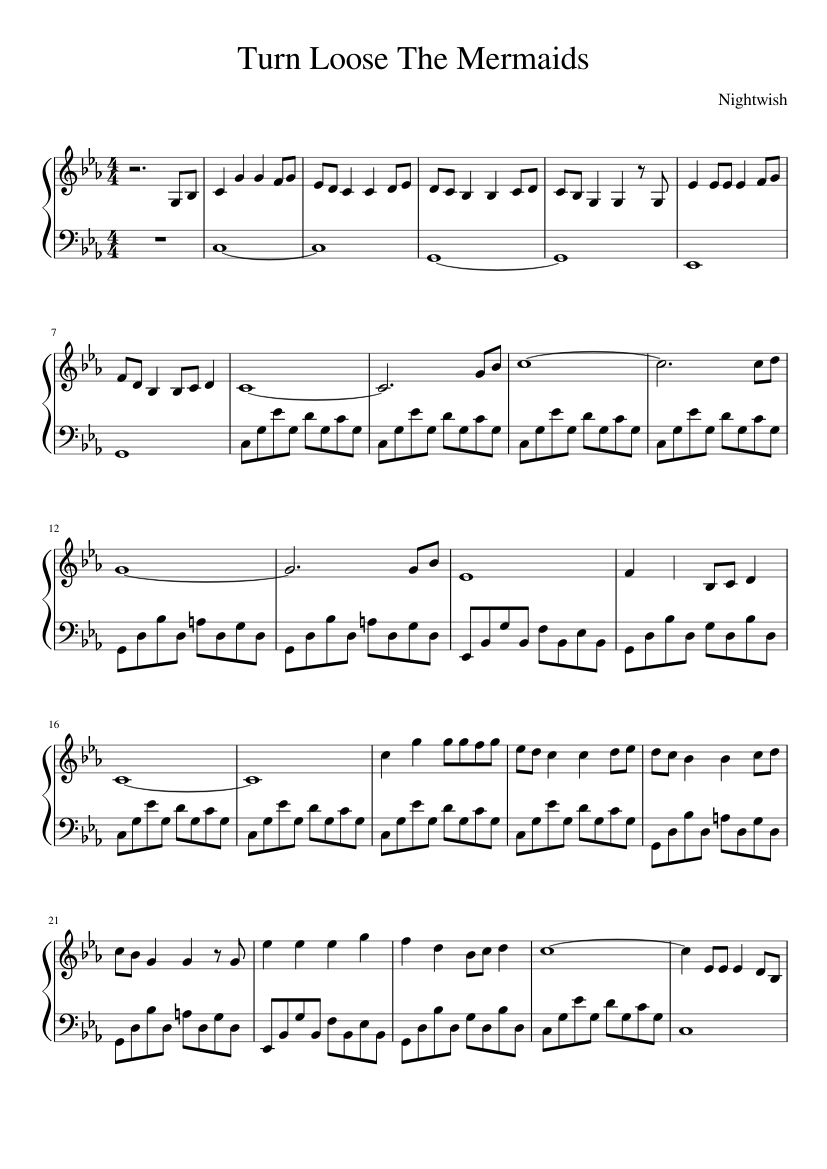 Turn loose the mermaids sheet music for piano download free in pdf.