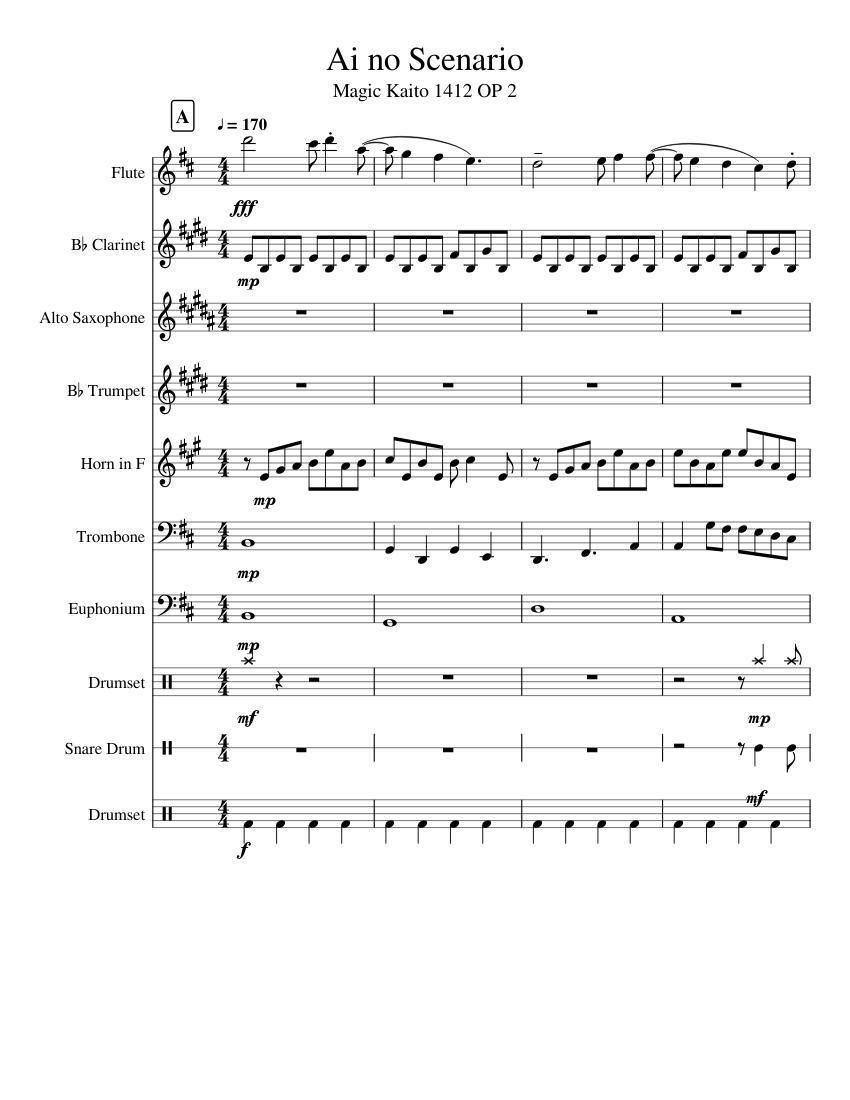 ai no scenario - magic kaito 1412 op sheet music for flute, clarinet