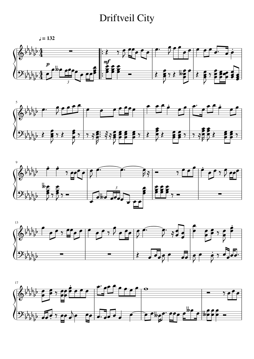 Driftveil City Sheet Music For Piano Solo Musescore Com Black and white 2 champion battle cuts of 48 secs into the theme but overall great soundtrack. driftveil city sheet music for piano