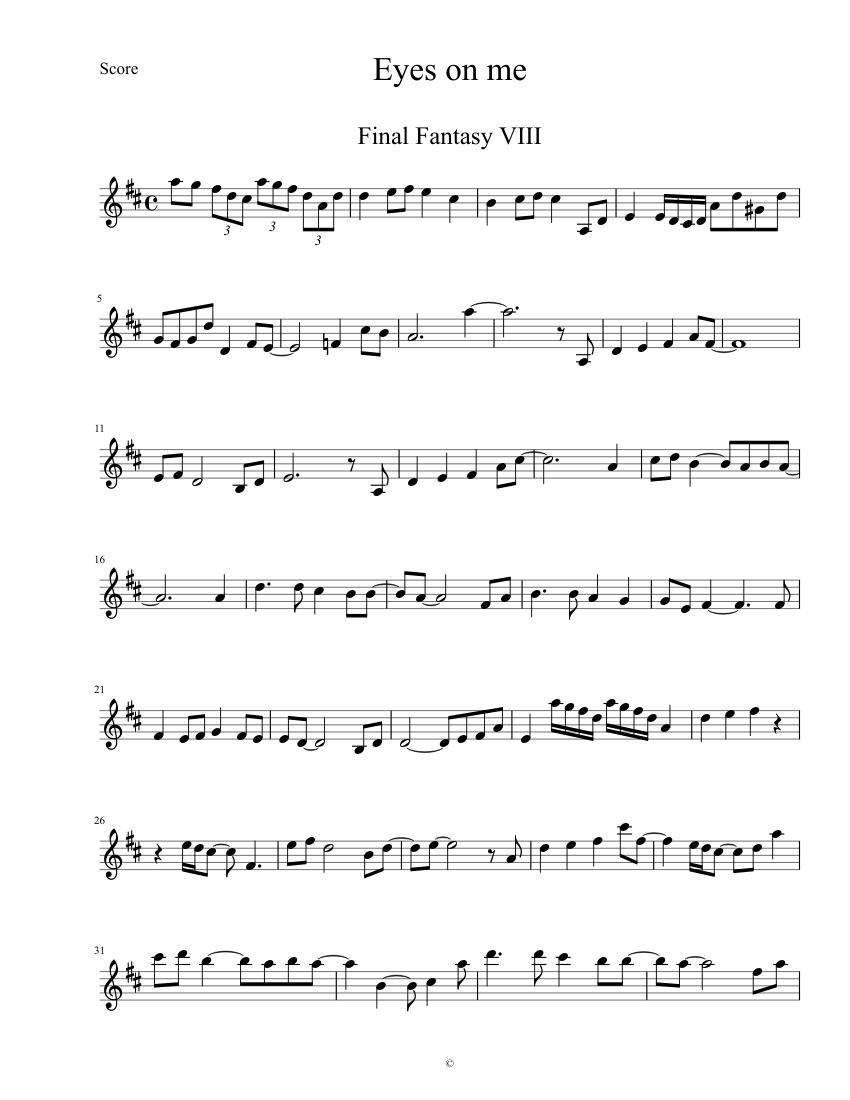 Eyes on me, final fantasy 8, (violin) needs revision sheet music.