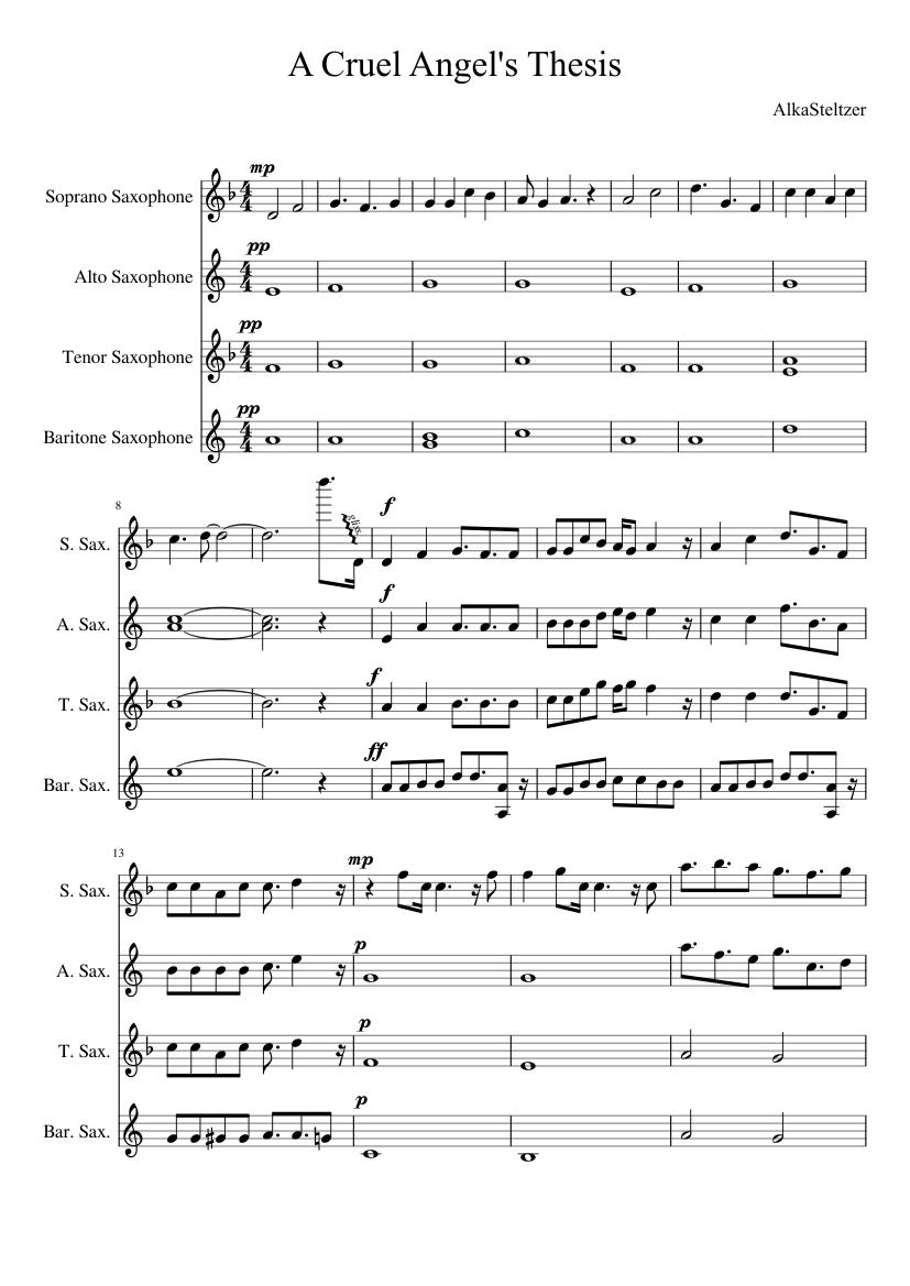 cruel angels thesis saxophone
