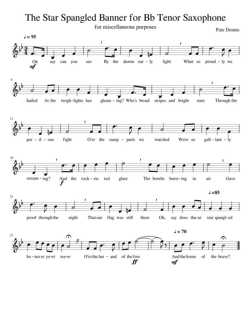 The Star Spangled Banner for Tenor Saxophone/ Bb Instrument Sheet music for  Saxophone (Tenor) (Solo) | Musescore.com