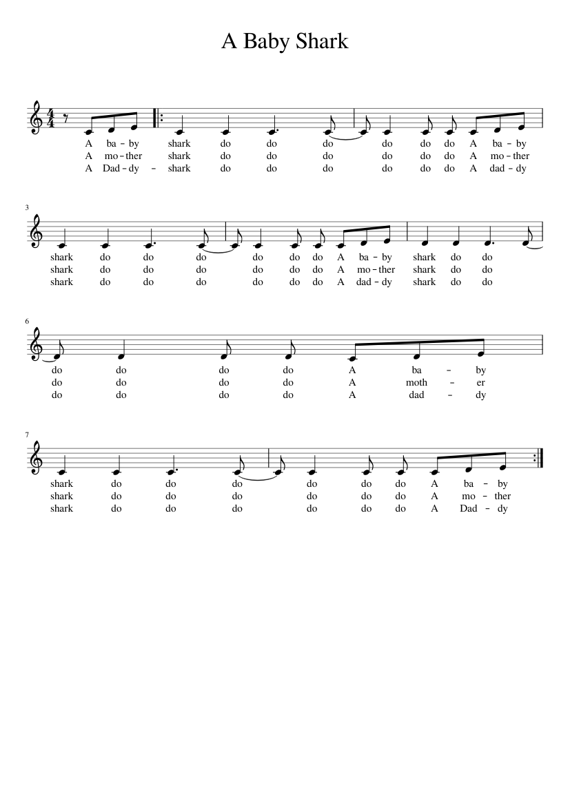 a baby shark sheet music for piano download free in pdf or midi