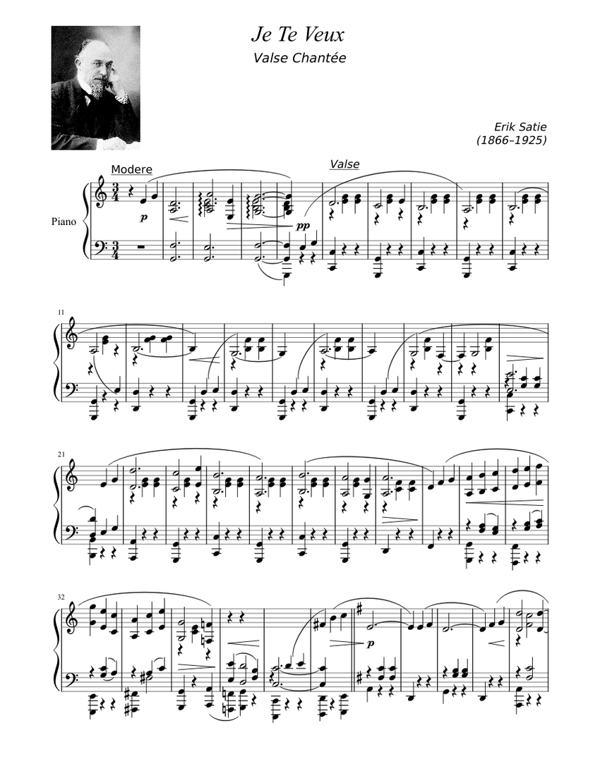 Je te veux Sheet music for Piano (Solo)   Musescore.com