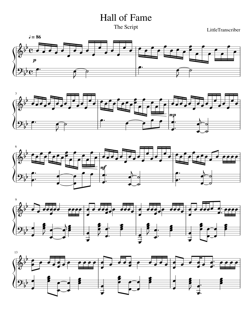 Hall Of Fame Sheet Music For Piano Download Free In Pdf Or Midi
