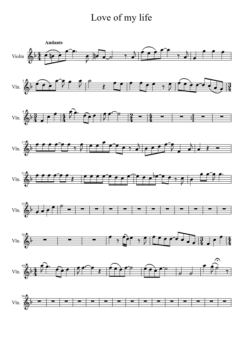 Love Of My Life Sheet Music For Violin Download Free In Pdf Or Midi
