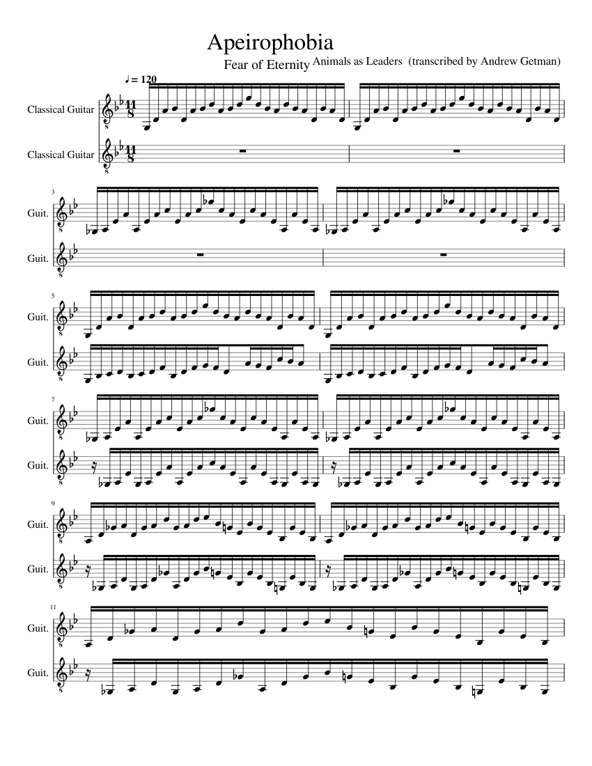 Apeirophobia Sheet Music For Guitar Mixed Duet Musescore Com
