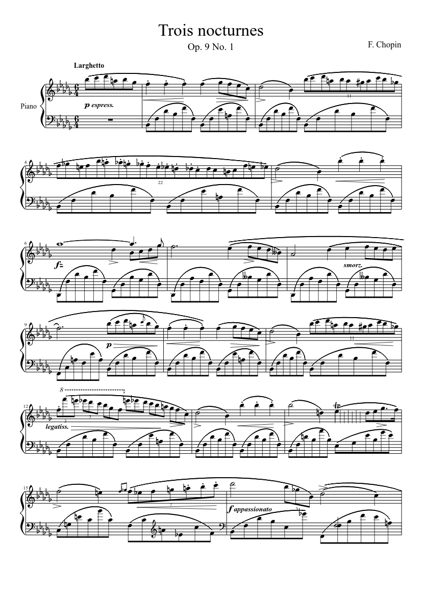 chopin - nocturne op. 9 no. 1 sheet music for piano (solo) | musescore.com  musescore.com