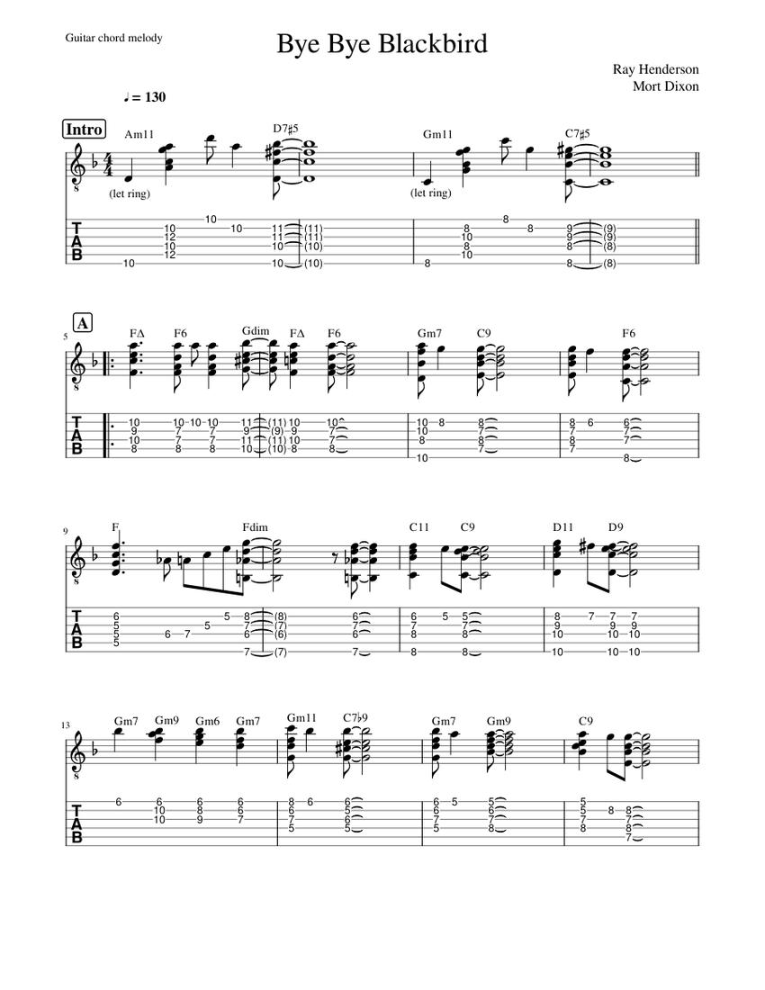 Bye Bye Blackbird guitar chord melody Sheet music for Guitar ...