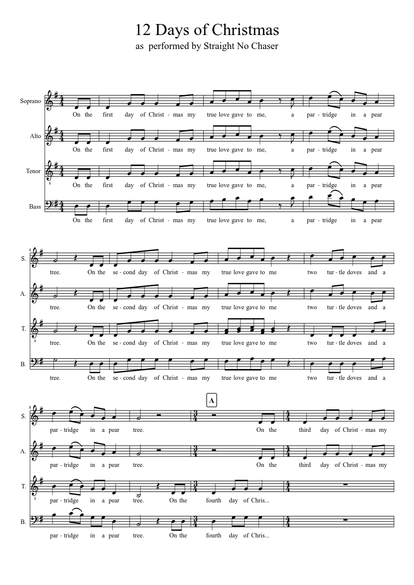 12 Days of Christmas sheet music – 1 of 11 pages