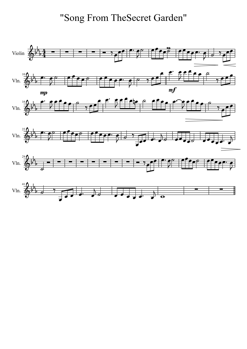 Song From The Secret Garden Sheet Music For Violin Solo Musescore Com