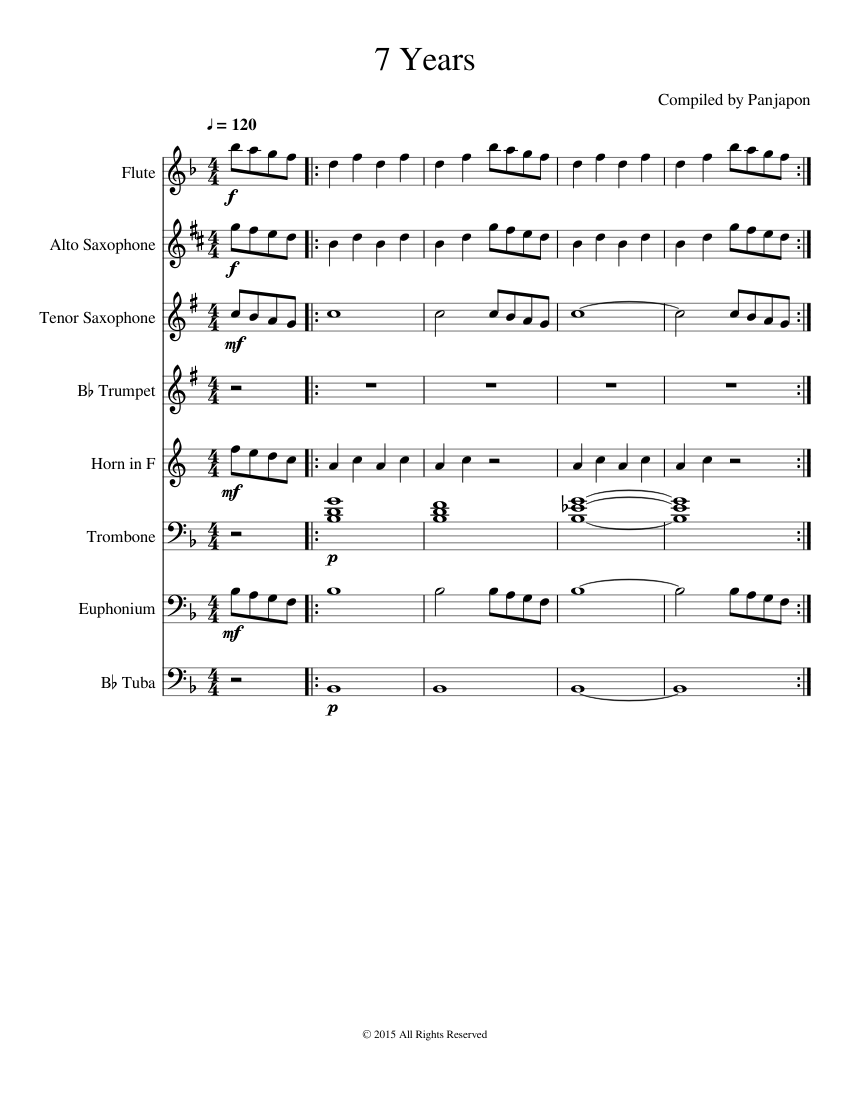 7 Years Piano Sheet Music With Letters 7 years - piano tutorial