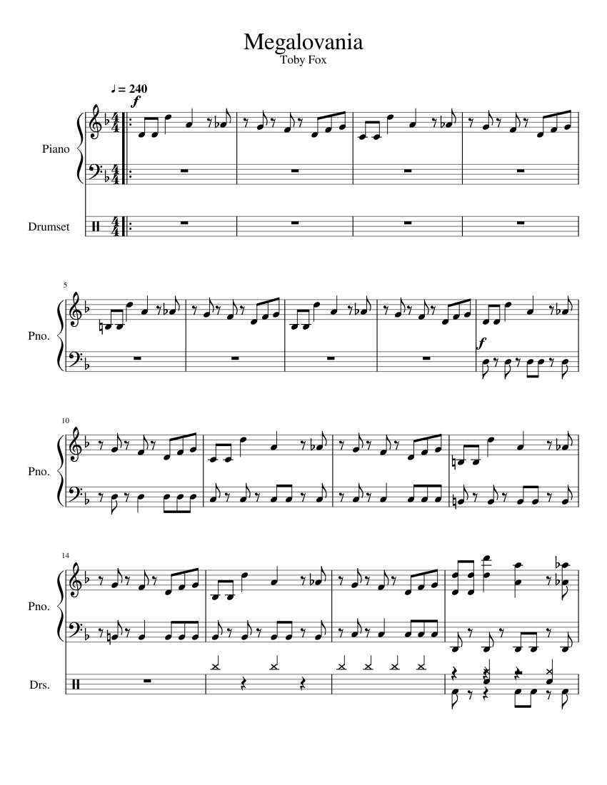 Megalovania Sheet Music For Piano Percussion Download Free In Pdf