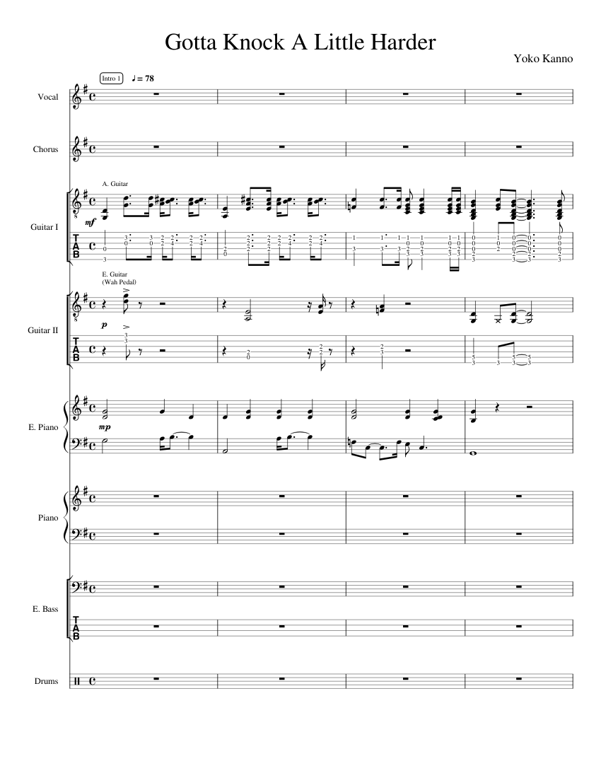 Gotta Knock A Little Harder Sheet Music For Piano Drum Group Vocals Guitar More Instruments Mixed Ensemble Musescore Com
