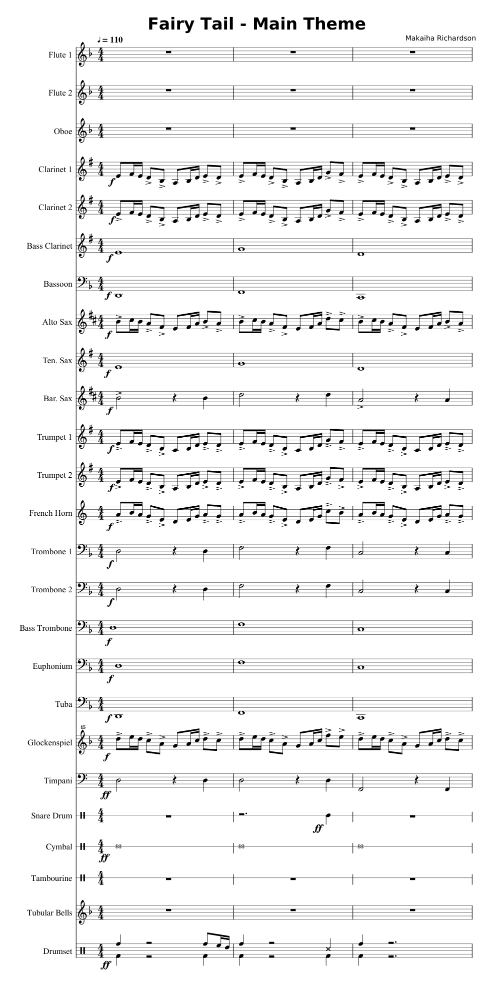 Fairy Tail Theme (Concert Band) sheet music for Flute