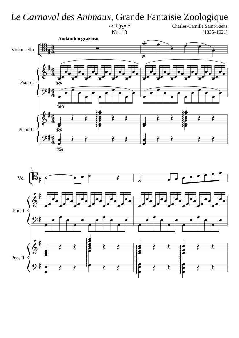 """Le Carnaval des Animaux"""" No  13, """"Le Cygne"""" - piano tutorial"""