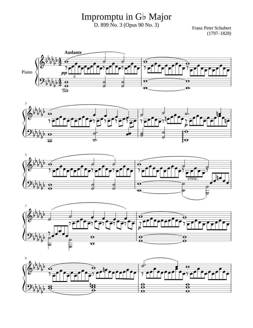 impromptu d. 899 no. 3 in g♭ major sheet music for piano (solo) |  musescore.com  musescore.com