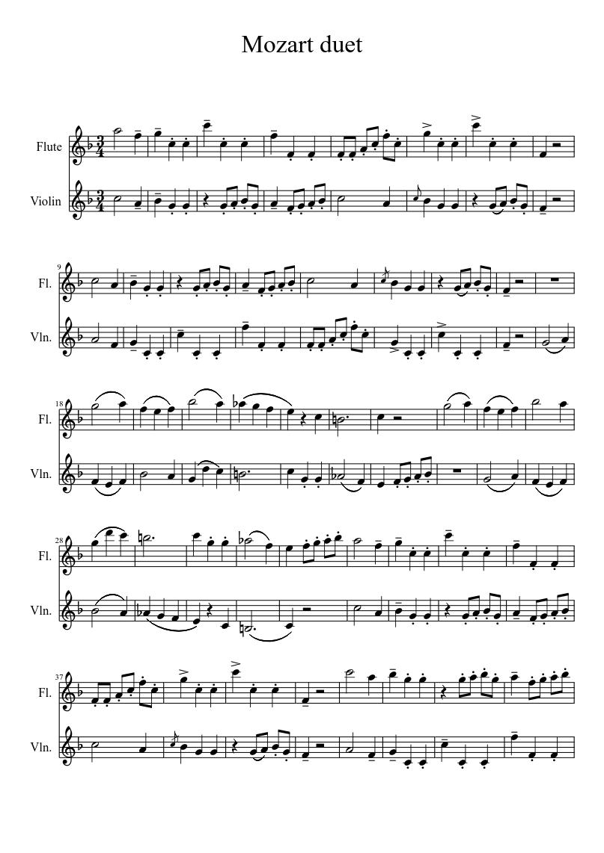 Violin & flute duet  sheet music download free in PDF or MIDI