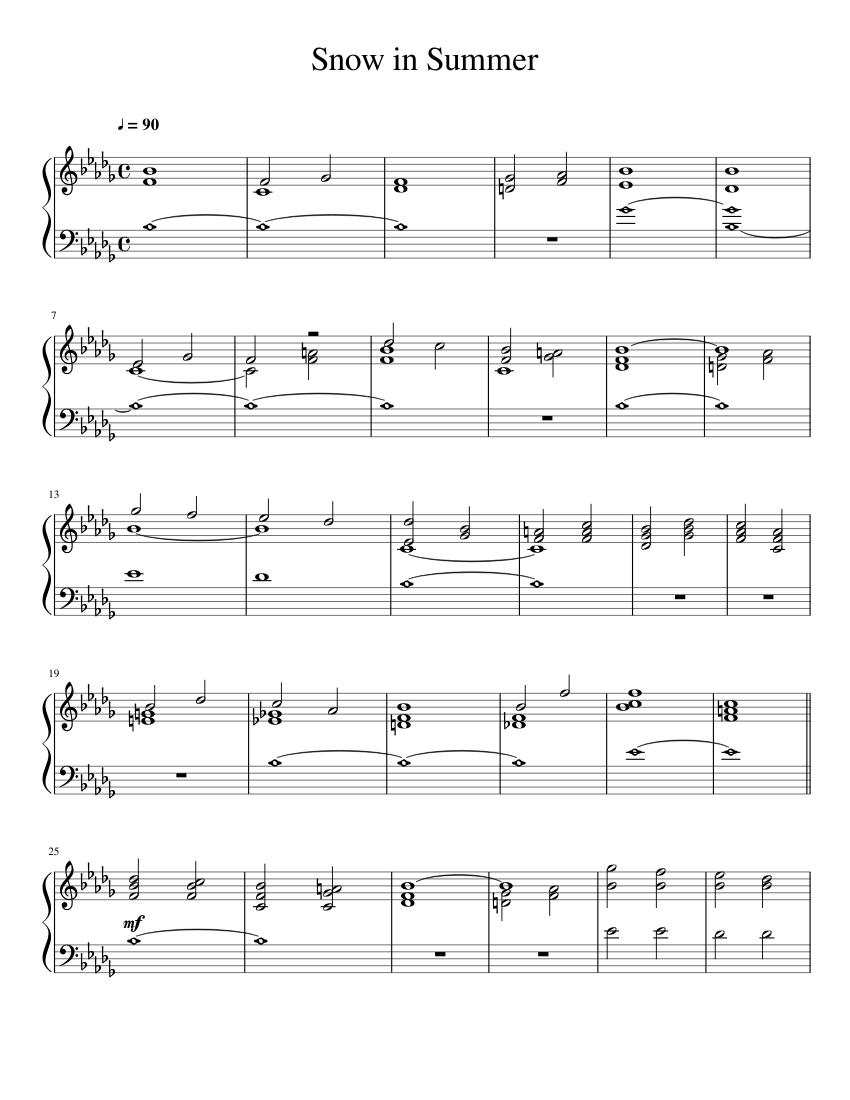 snow in summer sheet music for piano (solo)   musescore.com  musescore.com