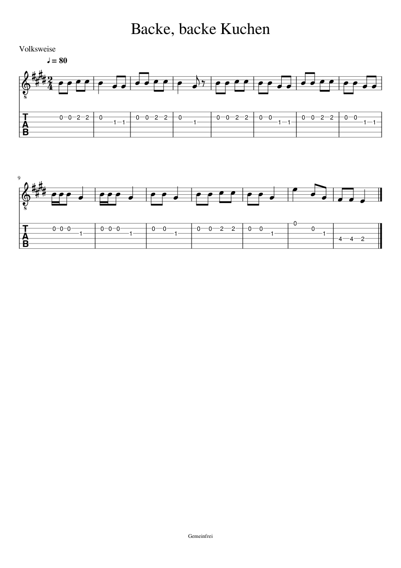 Backe Backe Kuchen Piano Tutorial