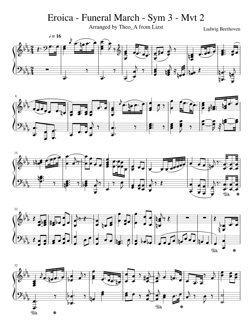 Funeral march of a marionette: score parts (eighth note publication….