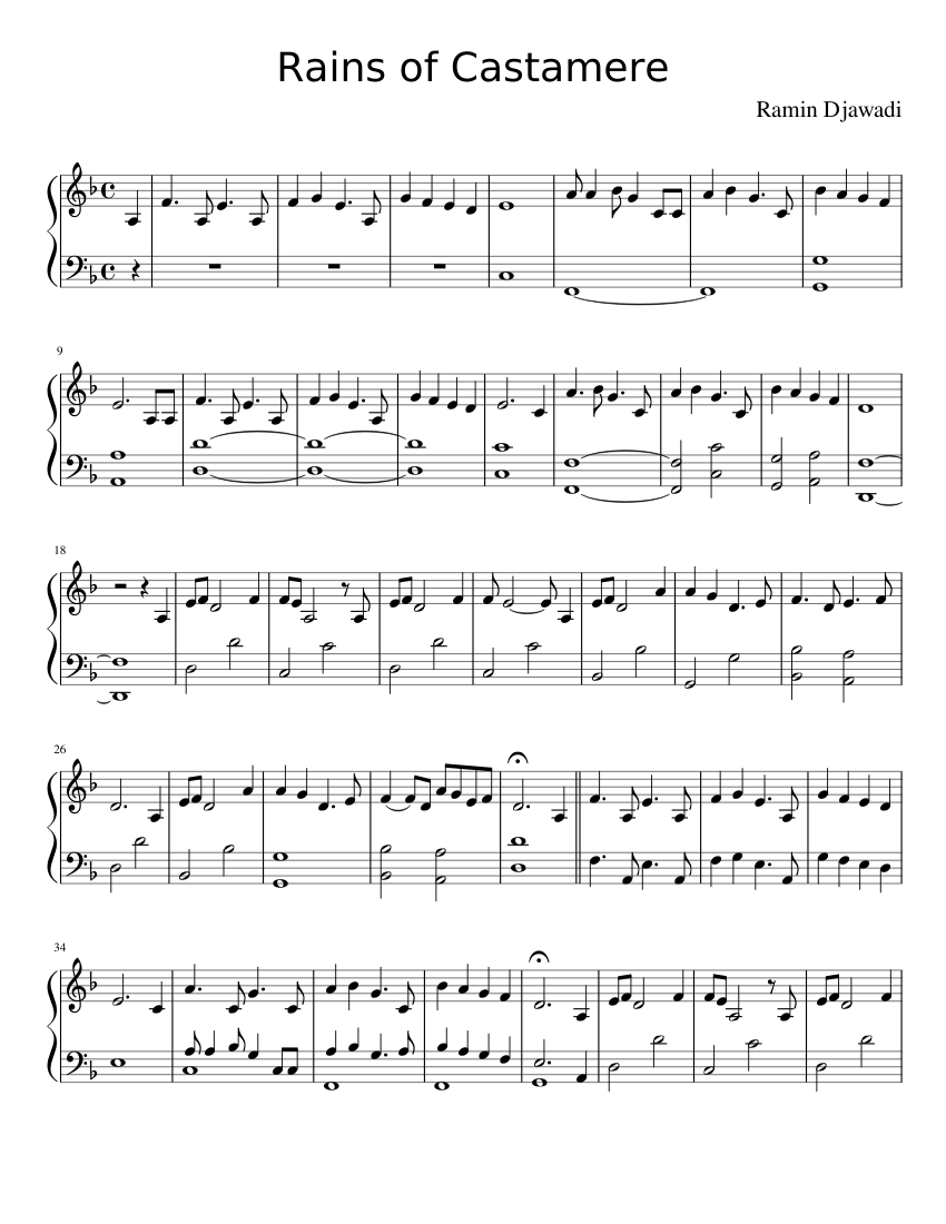 Rains Of Castamere Sheet Music For Piano Solo Download And Print In Pdf Or Midi Free Sheet Music Musescore Com