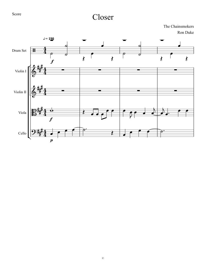 Closer the chainsmokers sheet music for violin, viola, cello.