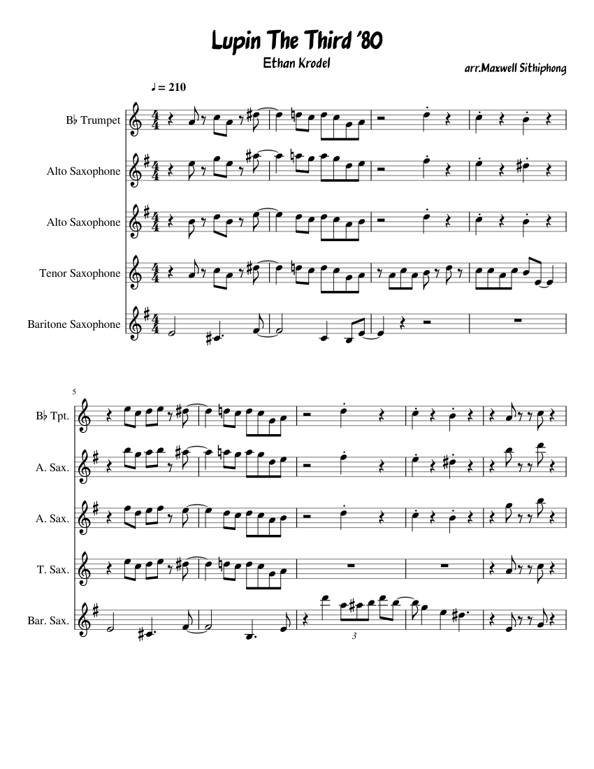 Lupin The Third Sax Quartet Sheet Music For Trumpet In B Flat Saxophone Alto Saxophone Tenor Saxophone Baritone Saxophone Ensemble Musescore Com