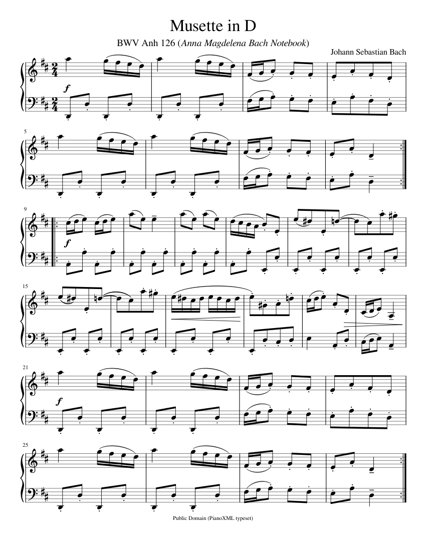 bach: musette in d (bwv anh. 126) sheet music for piano (solo) |  musescore.com  musescore.com