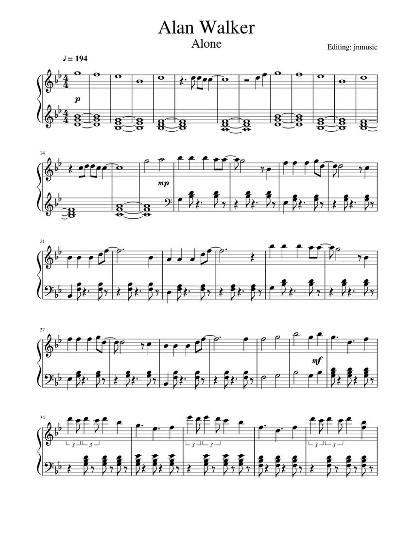 Alan Walker Alone Piano Sheet Music For Piano Solo Musescore Com