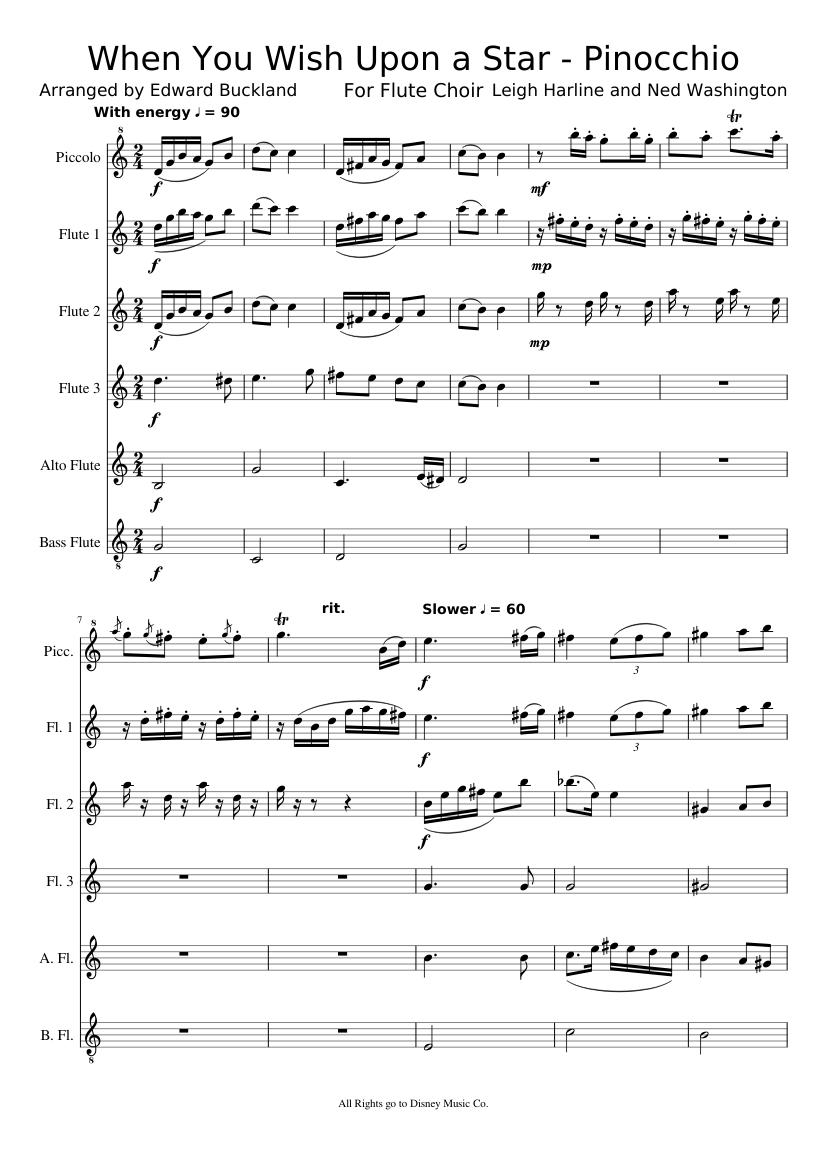 When you wish upon a star sheet music for alto saxophone, baritone.