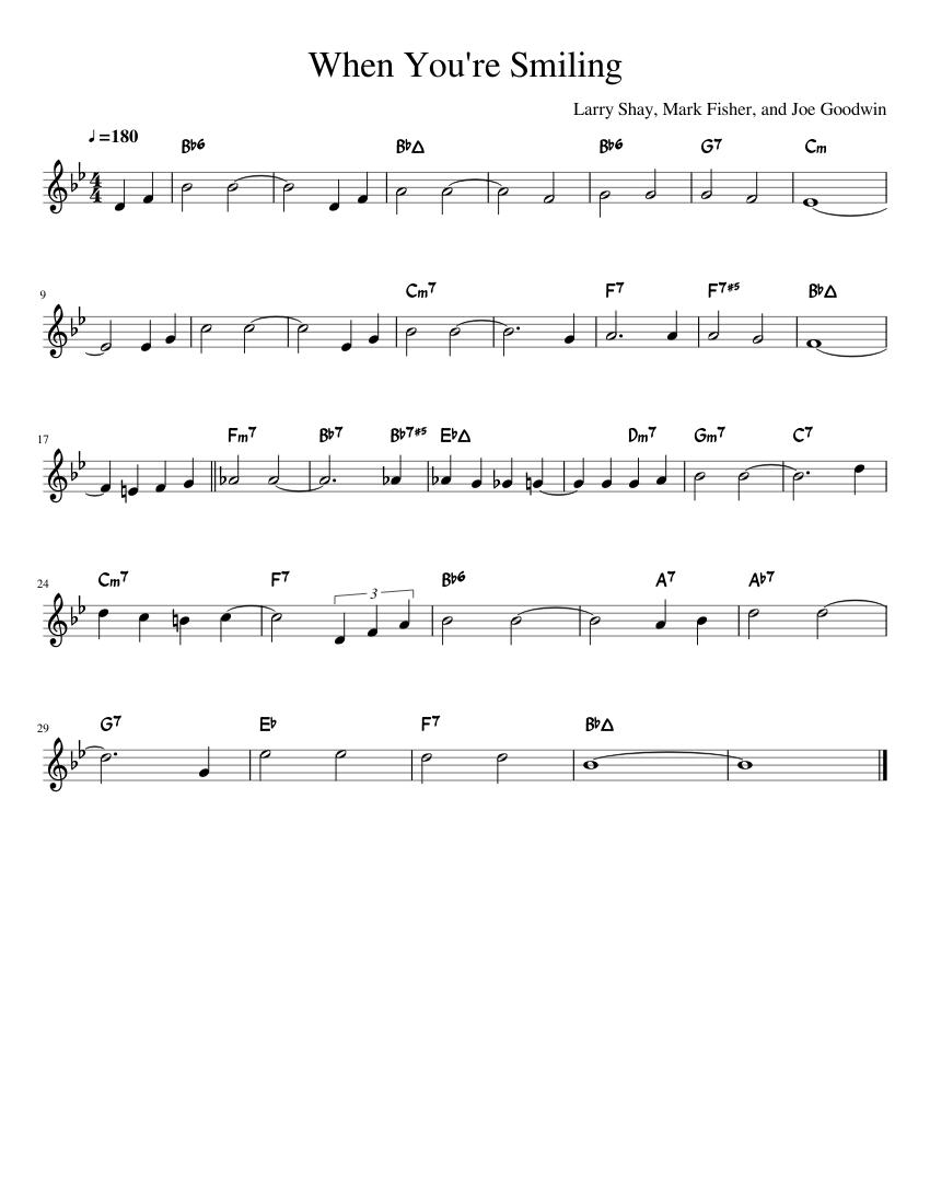 Smiling lead sheet re when you Mark Fisher