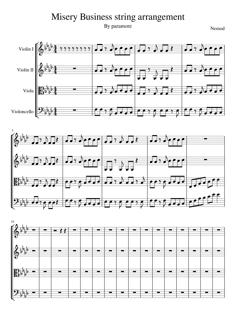 Misery business lead vocals only (drop d) sheet music for trumpet.