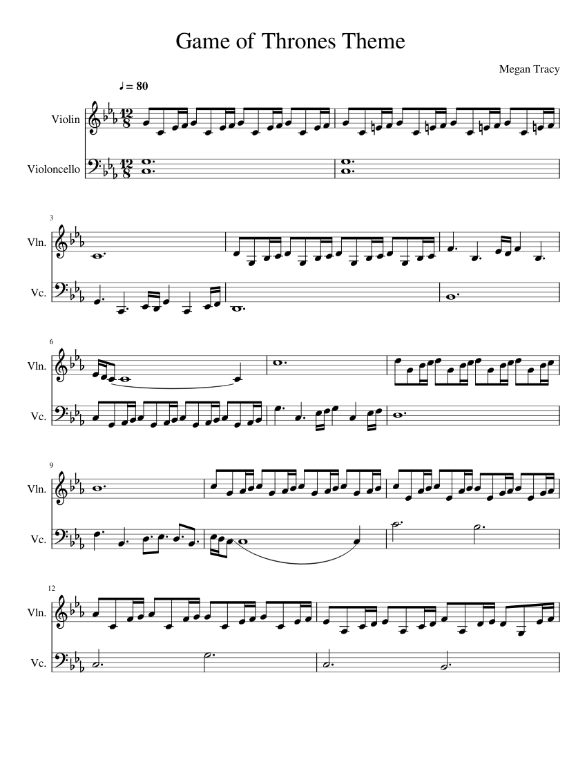Game Of Thrones Cello And Violin Duet Sheet Music For Violin Cello String Duet Musescore Com