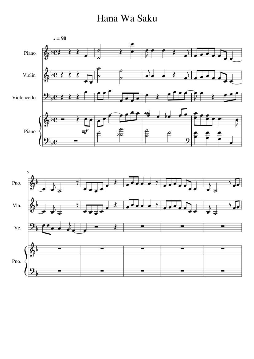 Hana Wa Saku sheet music for Piano, Violin, Guitar, Cello download