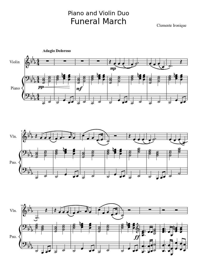 Download funeral march of a marionette bb bass clarinet sheet.